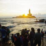 (82)魚が旨い!インド最南端・カニャークマリ・コモリン岬は、海が紫に染まった